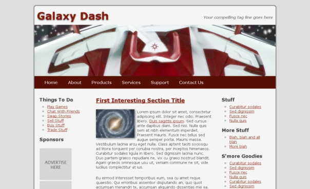 free galaxy dash template [Free Html5 Templates]