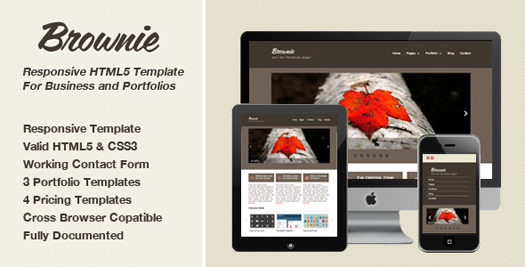 Brownie responsive html5 template html5xcss3 for Interior design responsive website templates edge free download