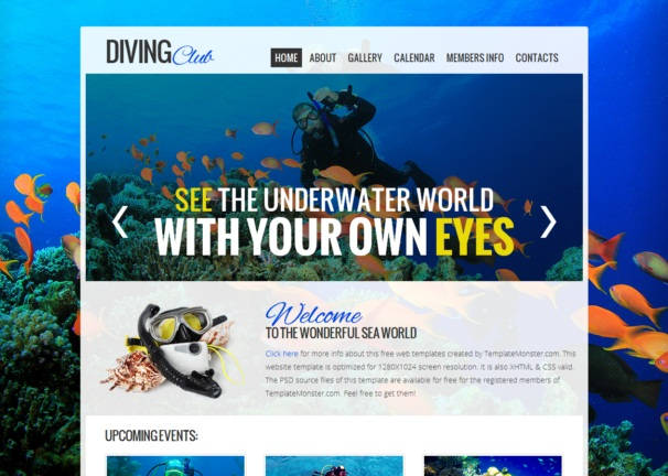 Diving Club Theme Free Html5 And Css3 Templates