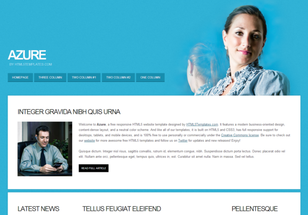 Azure theme [Free Html5 and Css3 Templates]