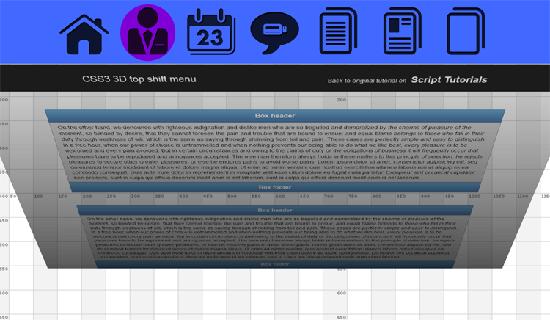 CSS3 3D top shift menu