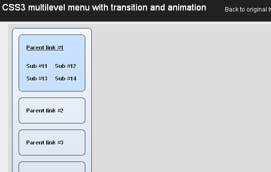 CSS3 multilevel menu with transition and animation