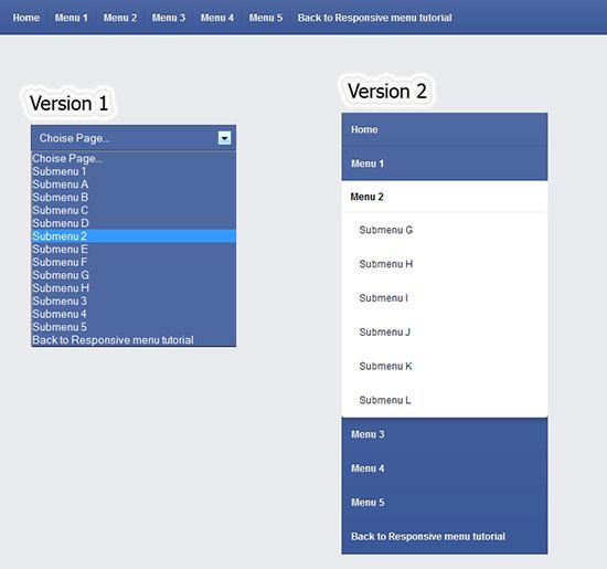 Css3 Responsive Menu version Facebook