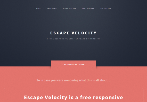 Escape Velocity [Free Html5 and Css3 Templates]
