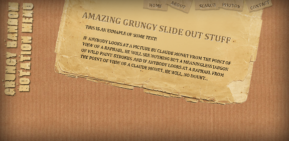 GRUNGY RANDOM ROTATION MENU WITH JQUERY AND CSS3