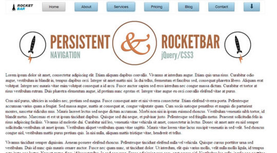 RocketBar A jQuery And CSS3 Persistent Navigation Menu