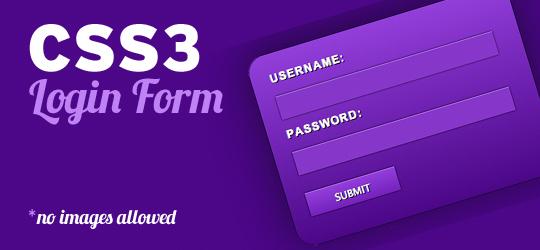 Slick CSS3 Login Form NO IMAGES ALLOWED