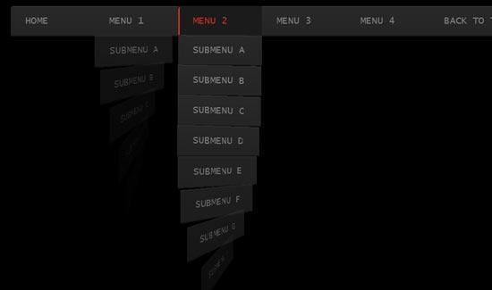 Whirling CSS3 dropdown menu