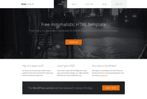 Nina free html5 template html5xcss3 for Free website templates html5