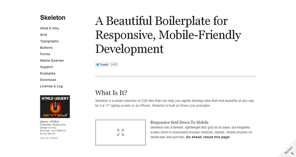 Skeleton- Beautiful Boilerplate for Responsive, Mobile-Friendly Development