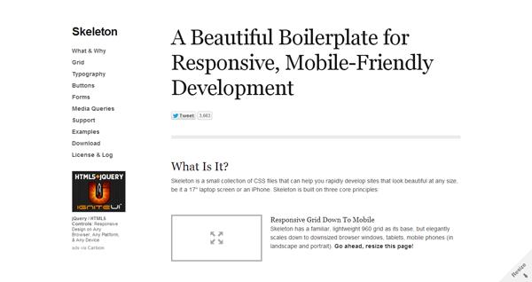 Skeleton- Beautiful Boilerplate for Responsive, Mobile-Friendly Development
