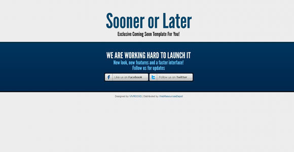 Sooner or Later Free Coming Soon template templates