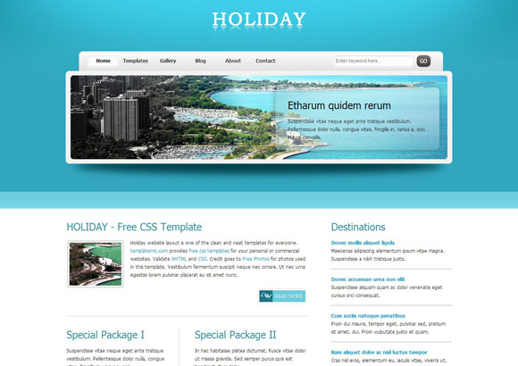 Holiday free CSS template
