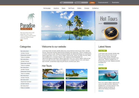 Paradise free css themes
