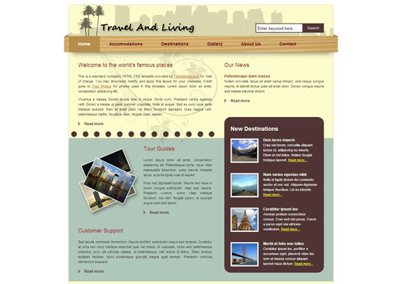 Travel and Living Free XHTML CSS Template