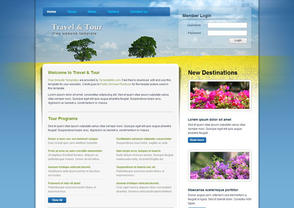 Travel and Tour free website template